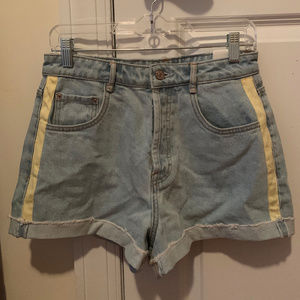 Zara High Waisted Button Up Denim Shorts w/ Stripe